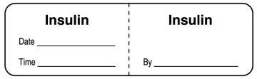 "Insulin, I.V. Line Identification Label, 3"" x 7/8"""