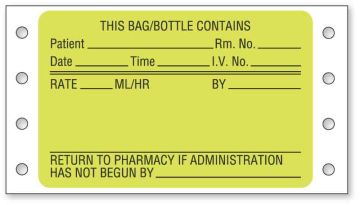 """IV System Preprinted Pinfeed Label, 3"""" x 1-15/16"""""""