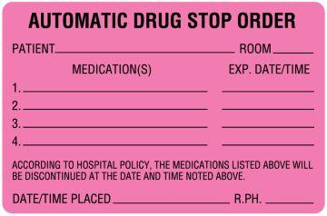 "Drug Renewal and Stop Order Label, 4"" x 2-5/8"""