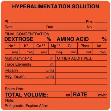 "Hyperalimentation Solution Label, 4"" x 4"""