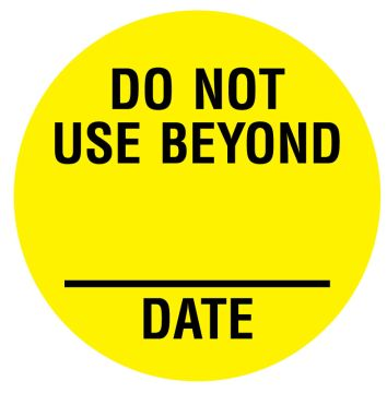 """DO NOT USE BEYOND Inventory Label, 3/4"""" Dia"""