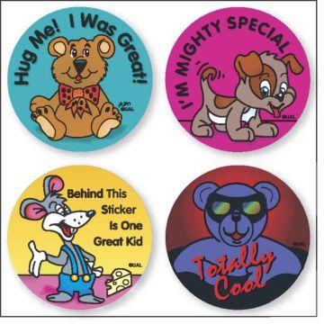"ASSORTED, Kids' Sticker, 1-1/4"" x 1-1/4"""