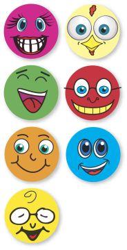 "SMILEY FACES, Kids' Sticker, 1"" x 1"""