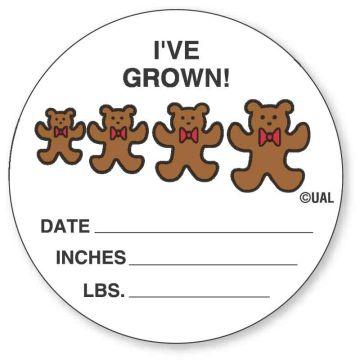 "I'VE GROWN!  DATE__  INCHES__, Kids' Sticker, 2-1/2"" x 2-1/2"""