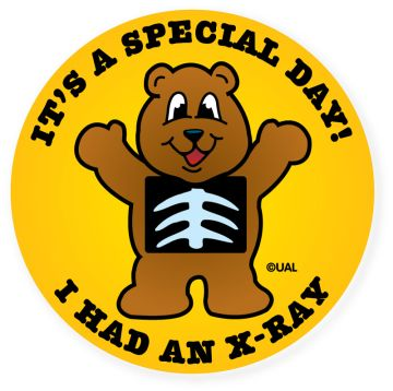 """IT'S A SPECIAL DAY! I HAD AN X-RAY, Kids' Sticker, 2-1/2"""" x 2-1/2"""""""