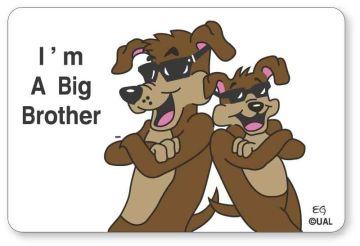 """I'M A BIG BROTHER, Kids' Sticker, 3"""" x 2"""""""