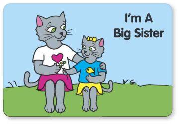 """I'M A BIG SISTER, Kids' Sticker, 3"""" x 2"""""""