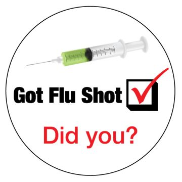 "GOT FLU SHOT, Kids' Sticker, 2-1/2"" x 2-1/2"""