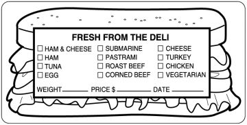"""FRESH FROM THE DELI, Food Identification Labels, 4"""" x 2"""""""