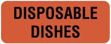 "DISPOSABLE DISHES, Nutrition Communication Labels, 2-1/4"" x 7/8"""