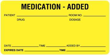 """IV Medication Added Label, 4"""" x 2"""""""