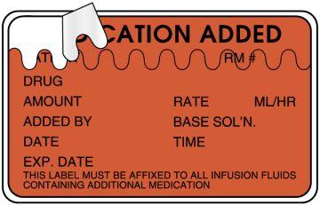 """IV Medication Added Label, 2-1/2"""" x 1-1/2"""""""