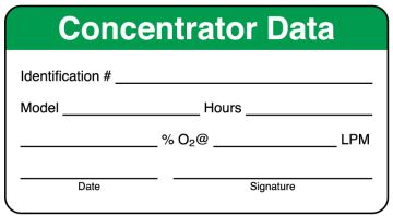 """Home Care Concentrator Data Label, 3"""" x 1-5/8"""""""