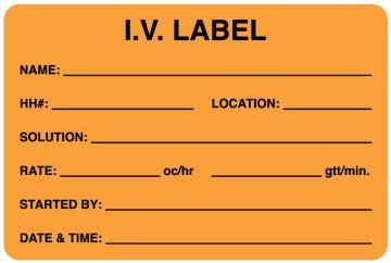 """Fluorescent Orange IV Medication Added Label, 3"""" x 2"""""""