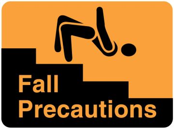 "Fall Precautions Label, 4"" x 2-5/8"""