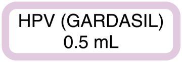 "HPV GARDASIL 0.5mL, 1-1/2"" x 1/2"""