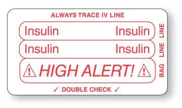 "INSULIN, Piggyback Line Identification Label, 3-1/4"" x 1-3/4"""