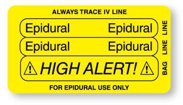 "EPIDURAL, Piggyback Line Identification Label, 3-1/4"" x 1-3/4"""