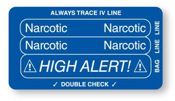 "NARCOTIC, Piggyback Line Identification Label, 3-1/4"" x 1-3/4"""