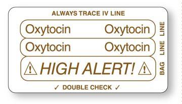 "OXYTOCIN, Piggyback Line Identification Label, 3-1/4"" x 1-3/4"""