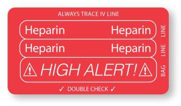 "HEPARIN, Piggyback Line Identification Label, 3-1/4"" x 1-3/4"""