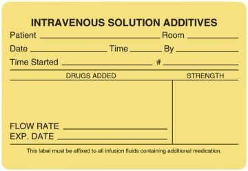 """I.V. Medication Additive Labels, 4"""" x 2-3/4"""""""