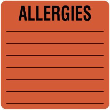 "Allergy Alert Label, 2-1/2"" x 2-1/2"""