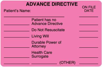 "Advanced Directive Label, 4"" x 2-5/8"""