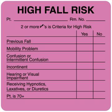 "Fall Risk Label, 2-1/2"" x 2-1/2"""