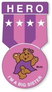 """HERO I'M A BIG SISTER, Kids' Sticker, 1-1/2"""" x 2-7/8"""""""
