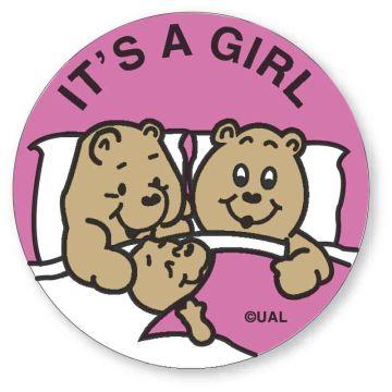 """IT'S A GIRL, Kids' Sticker, 2-1/2"""" x 2-1/2"""""""
