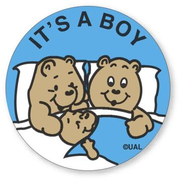 "IT'S A BOY, Kids' Sticker, 2-1/2"" x 2-1/2"""