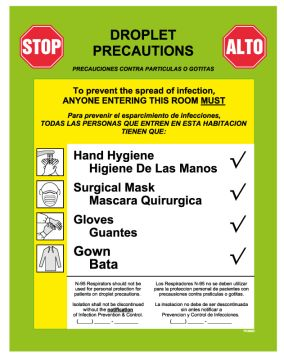 """Droplet Precautions Labels, 8-7/8"""" x 10-7/8"""""""