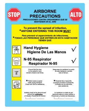 """Airborne Precautions Labels, 8-7/8"""" x 10-7/8"""""""