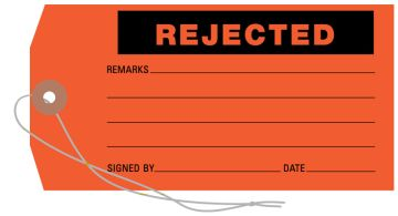 "Rejected Tag, 3-1/8"" x 6-1/4"""