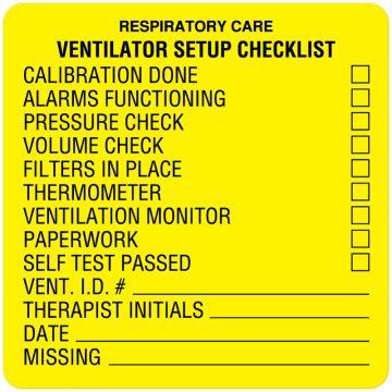 "Respiratory Care Label, 2-1/2"" x 2-1/2"""
