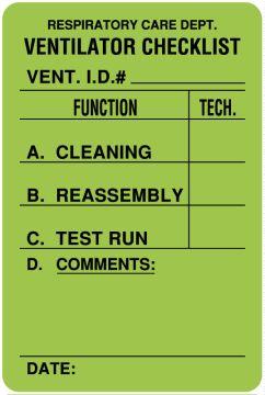 """Ventilator Label, 2"""" x 3"""""""