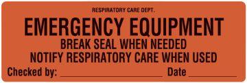 "Emergency Equipment Label, 6"" x 2"""