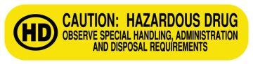 """HAZARDOUS DRUG, Medication Instruction Label, 1-5/8"""" x 3/8"""""""