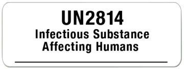 """UN2814 Infectious Substance Label, 3"""" x 1-1/8"""""""