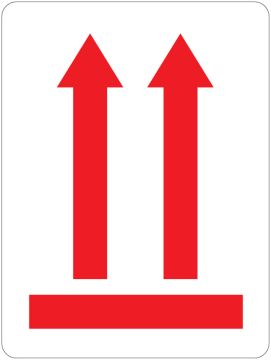 """Red Up Arrows Transport Label, 3"""" x 4"""""""