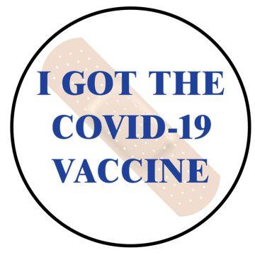"I Got the Covid-19 Vaccine Badge Label, Blue 3/4"" Dia"