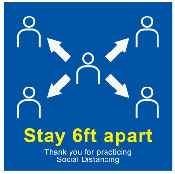 "6 ft Social Distancing Label, 6"" x 6"""