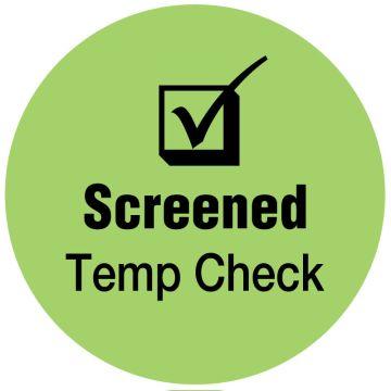 "SCREENED Temp Check, Light Green, 3/4"" Dia"