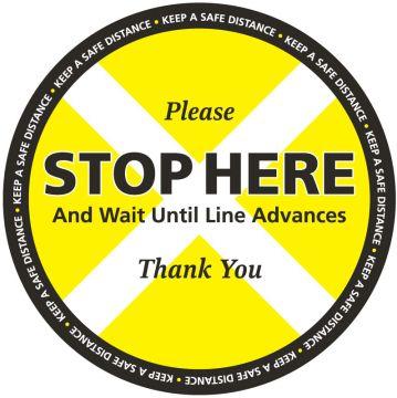 STOP HERE KEEP SAFE DISTANCE Floor Label