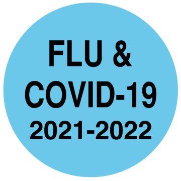"""FLU COVID-19 2021/2022, Laminated, 3/4"""" x 3/4"""""""
