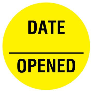 "Date Opened, 3/4"" x 3/4"""