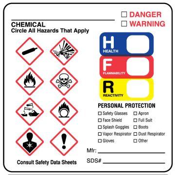 """GHS Hazard Label, 2-1/2"""" x 2-1/2"""""""