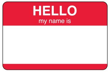 VISITOR BADGE, HELLO - RED