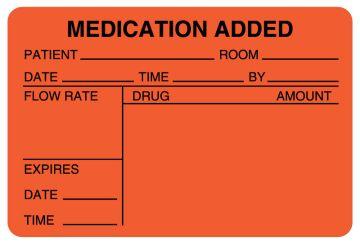 """IV Medication Added Label, 3"""" x 2"""""""